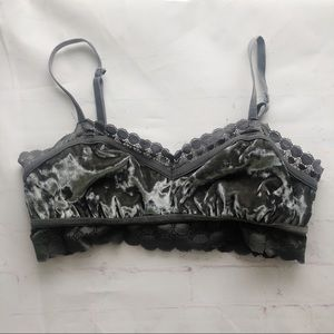 [Aerie] gray velour bralette pull on large